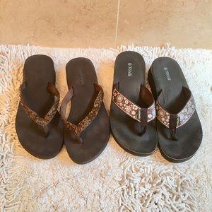 BUNDLE!!! 2 Pair Brown Flip Flop Sandals - Sz 8.5
